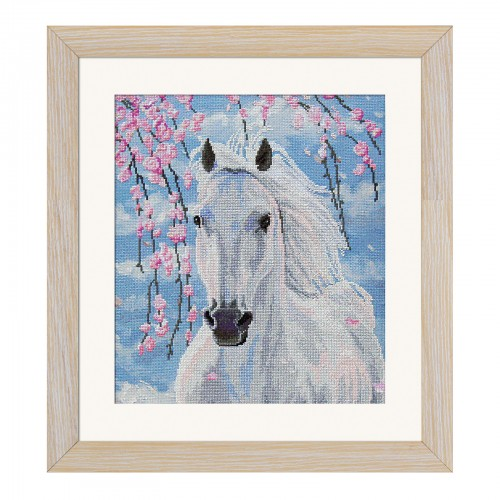 "Cross stitch kit with canvas with printed background ""Sakura"""