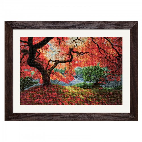 "Cross stitch kit with white canvas ""Autumn rays"""