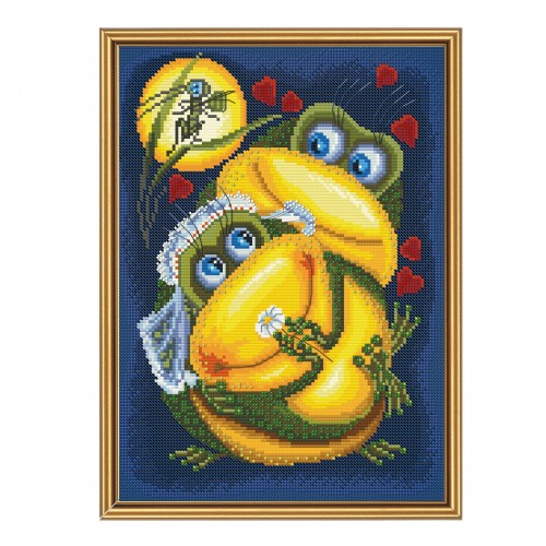 "Threads and beads embroidery kit ""Frog's marriage"""