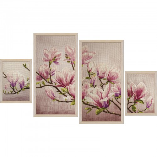 "Cross stitch kit with canvas with printed background ""Saucer magnolia"""