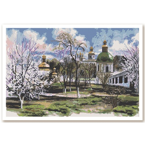 "Cross stitch kit with white canvas ""Early spring"""