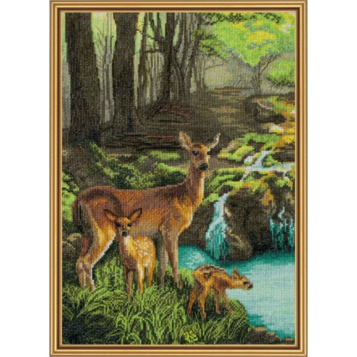 "Cross stitch kit with white canvas ""Deer near creek"""