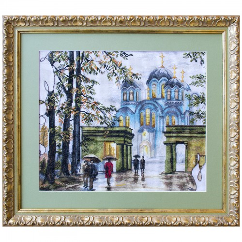 Cross stitch kit with white canvas St. Vladimir's Cathedral