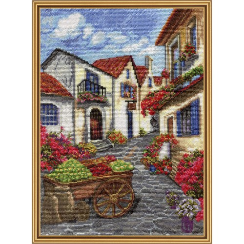 "Cross stitch kit with white canvas ""Sunny market"""