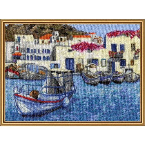 "Cross stitch kit with white canvas ""Morning in harbor"""