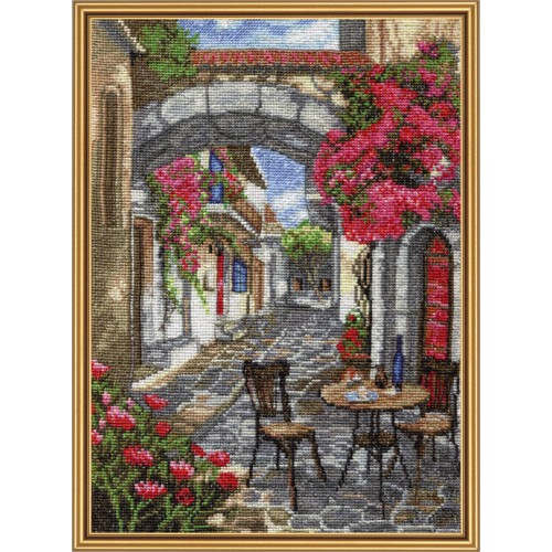 "Cross stitch kit with white canvas ""Sunday siesta"""