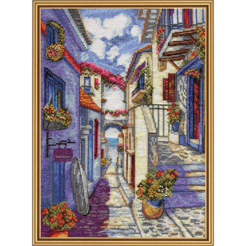 "Cross stitch kit with white canvas ""By street to see"""