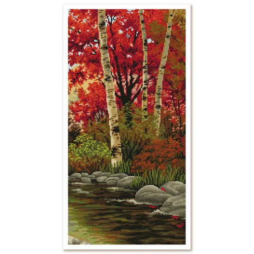 """Threads and beads embroidery kit """"Autumn blues"""""""