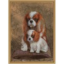 "Cross stitch kit with canvas with printed background ""Mom`s darling"""