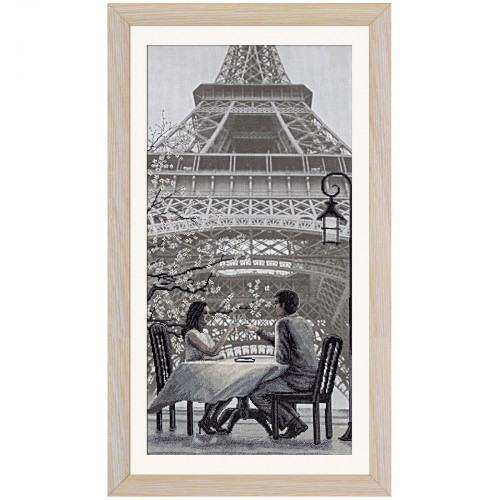 "Cross stitch kit with canvas with printed background ""Paris - the city of love. Youthfulness"""