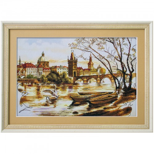 "Cross stitch kit with canvas with printed background ""Prague. The Charles Bridge"""