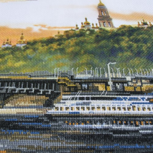 "Cross stitch kit with canvas with printed background ""The slopes of the Dnieper"""