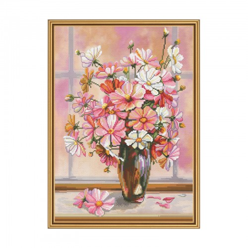 "Cross stitch kit with canvas with printed background ""Flower gauze"""