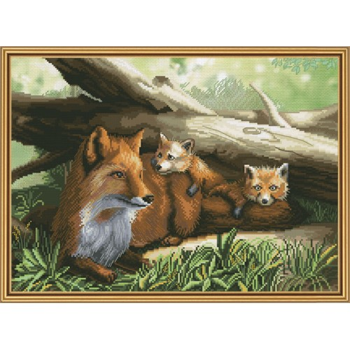 "Cross stitch kit with canvas with printed background ""Fox family"""