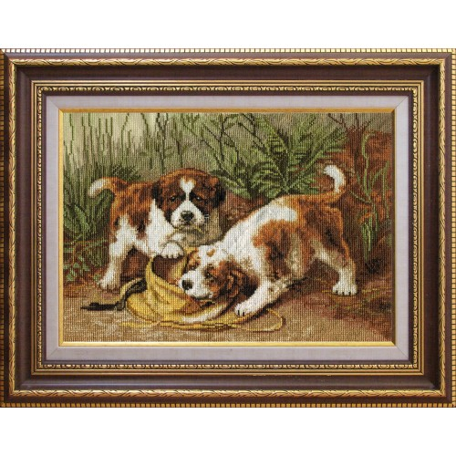 "Cross stitch kit with canvas with printed background ""Puppies"""