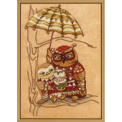 "Cross stitch kit with canvas with printed background ""Under umbrella"""