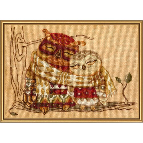 "Cross stitch kit with canvas with printed background ""Family warmth"""
