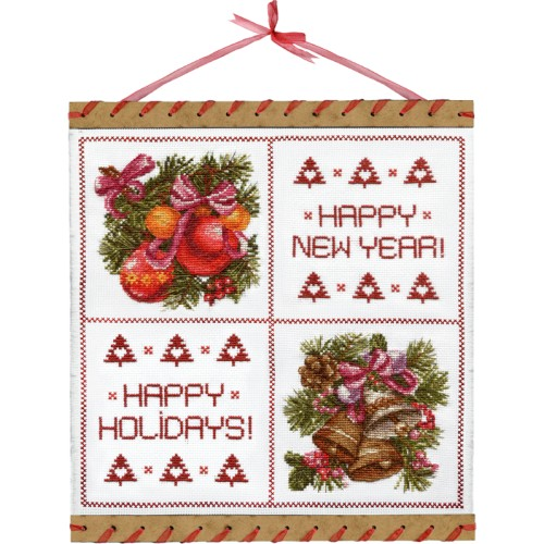 "Cross stitch kits with canvas and frame ""New Year's colors"""