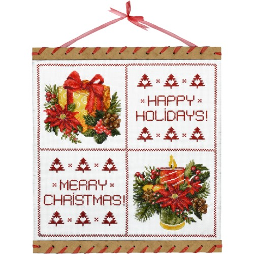 "Cross stitch kits with canvas and frame "" Favorite holiday"""