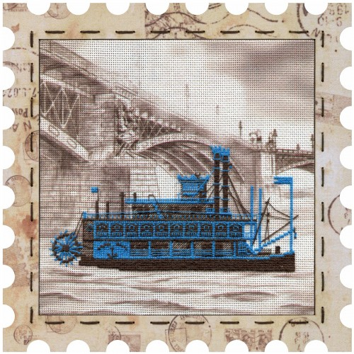"Cross stitch kits with canvas and frame ""Steamboat"""