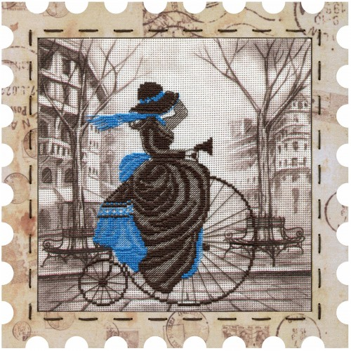 """Cross stitch kits with canvas and frame """"Bicycle"""""""