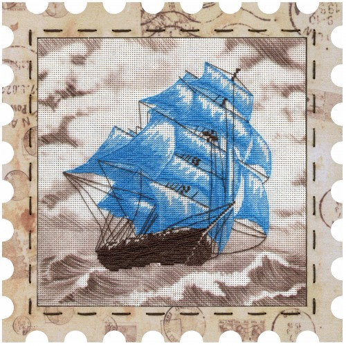 "Cross stitch kits with canvas and frame ""Sailboat"""