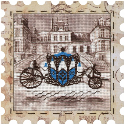 """Cross stitch kits with canvas and frame """" Carriage"""""""