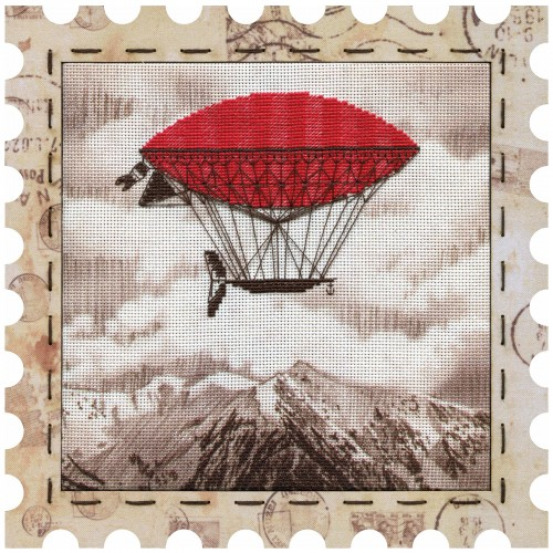 "Cross stitch kits with canvas and frame ""Airship"""