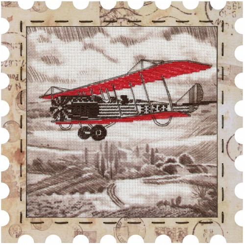 "Cross stitch kits with canvas and frame ""Airplane"""