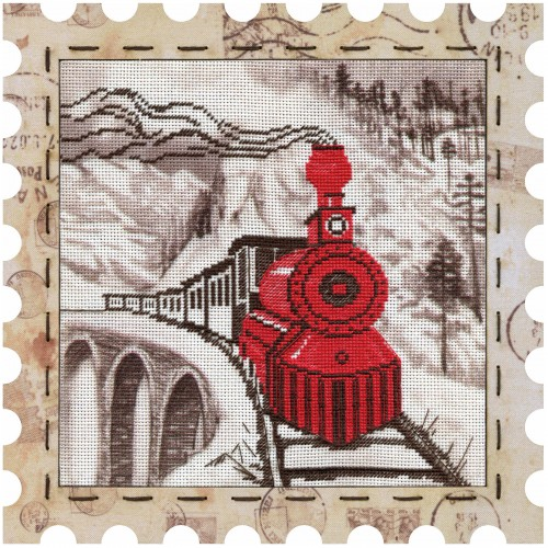 """Cross stitch kits with canvas and frame """"Engine"""""""