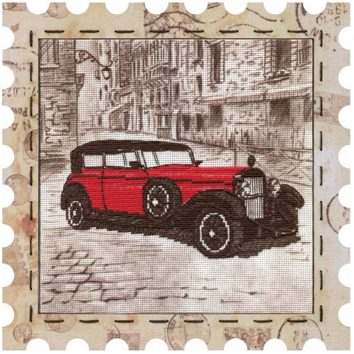 """Cross stitch kit with canvas and frame """"Car"""""""