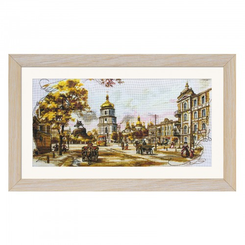 "Cross stitch kit with canvas with printed background ""Old Kiev"""
