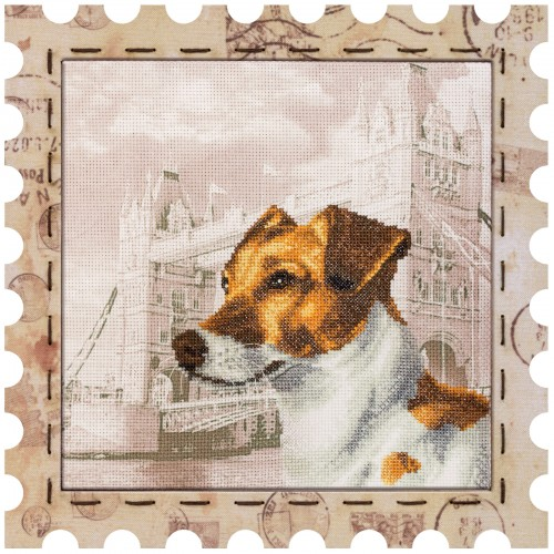 "Cross stitch kit with canvas and frame ""Jack Russell Terrier"""