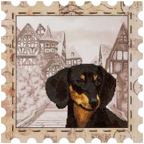 "Cross stitch kit with canvas and frame ""Dachshund"""