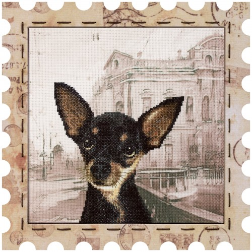"Cross stitch kit with canvas and frame ""Toy Terrier"""