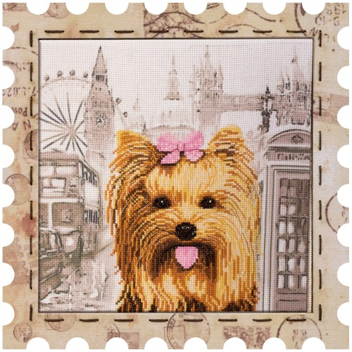 "Cross stitch kit with canvas and frame ""Yorkshire Terrier"""
