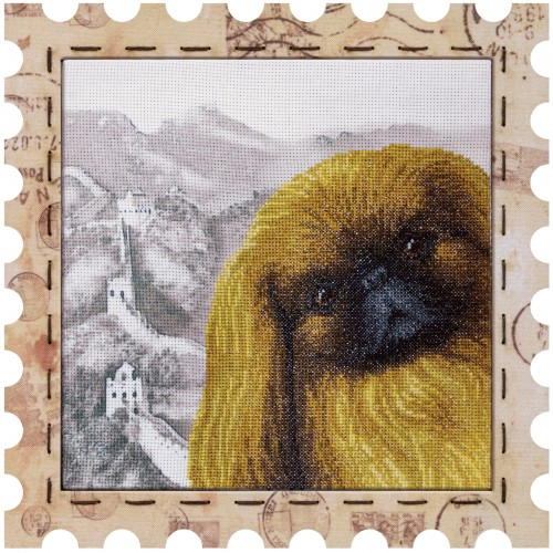 "Cross stitch kit with canvas and frame ""Pekingese"""