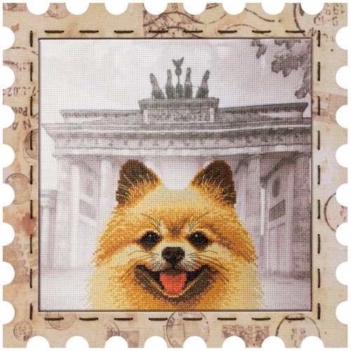 "Cross stitch kit with canvas and frame ""Spitz"""