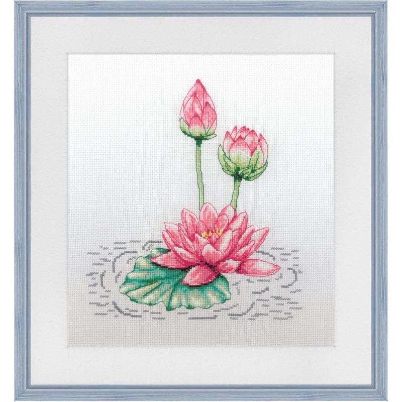"""Cross stitch kit with canvas with printed background """"Lake beauty"""""""