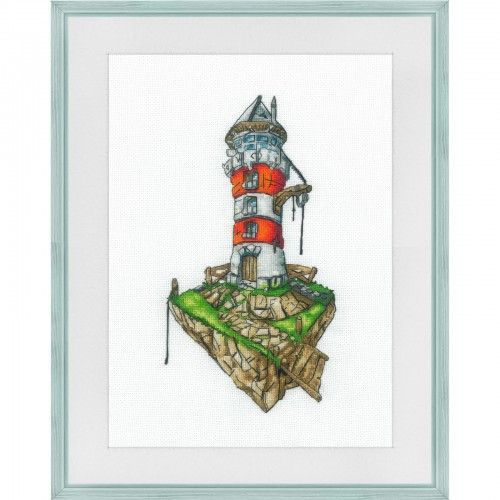 "Cross stitch kit with white canvas ""Old tower"""