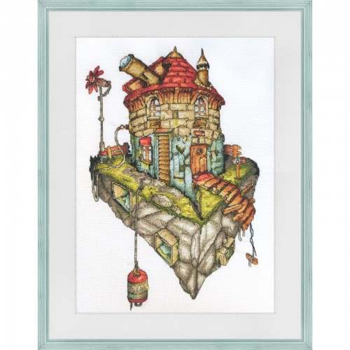 "Cross stitch kit with white canvas ""Leonardo's studio"""