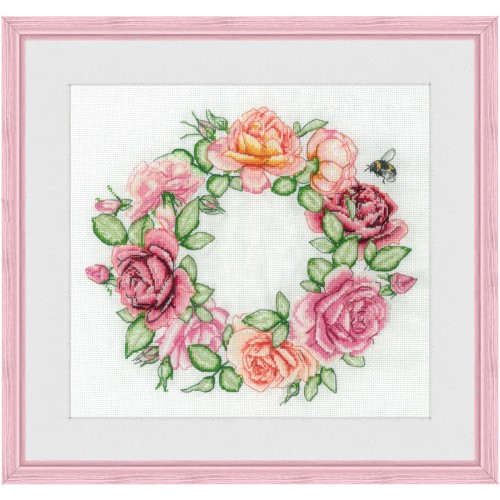"Cross stitch kit with white canvas ""Roses"""