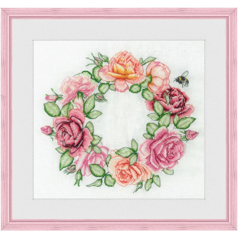 """Cross stitch kit with white canvas """"Roses"""""""