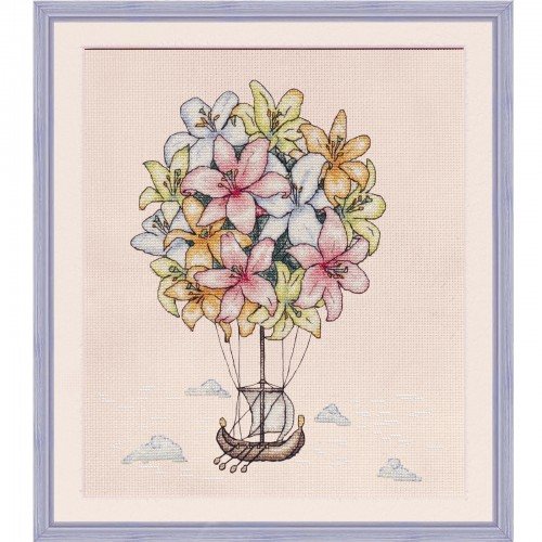 """Cross stitch kit with white canvas """"Air lilies"""""""