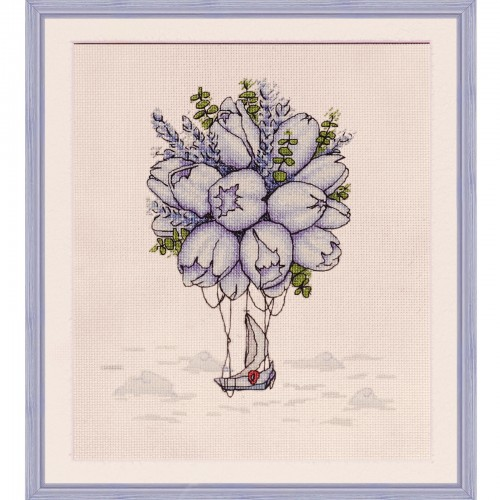 "Cross stitch kit with printed background ""Blue tulips"""