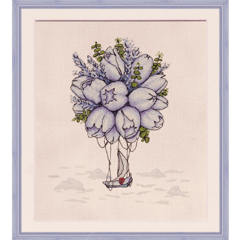 """Cross stitch kit with printed background """"Blue tulips"""""""