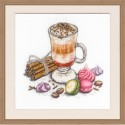 "Cross stitch kit with white canvas ""Sweet pleasure"""