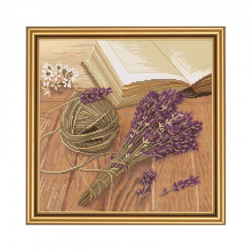 "Cross stitch kit with canvas with printed background ""Lavender mood"""