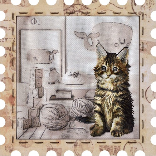 Cross stitch kit with canvas and frame малыш