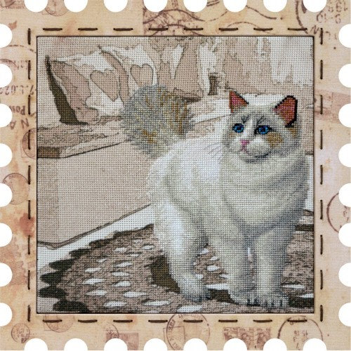 "Cross stitch kit with canvas and frame ""Snowball"""